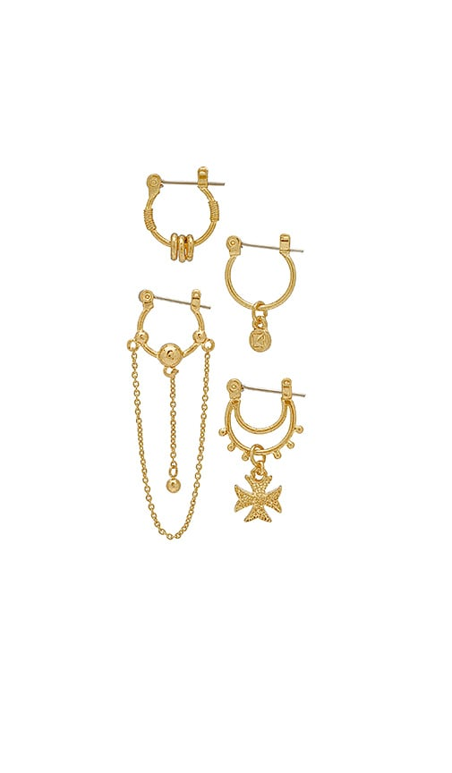 Luv AJ x SABO LUXE Heli Hoop Huggies Earring Set in Metallic Gold