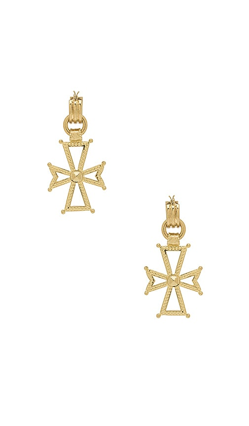 Luv AJ x SABO LUXE Mattan Cross Statement Hoop Earrings in Metallic Gold