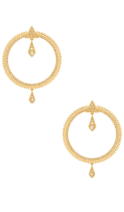 Luv AJ Pave Kite Statement Hoops in Metallic Gold