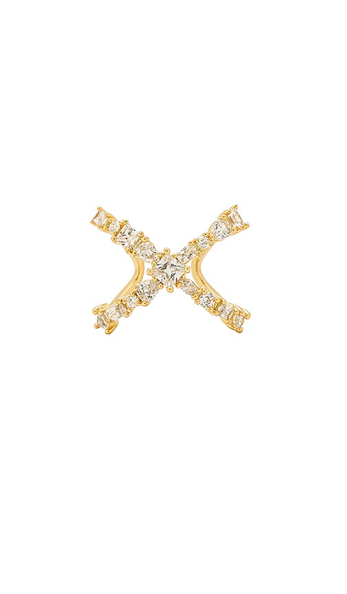 Luv AJ The Scattered Gem X Ring in Metallic Gold