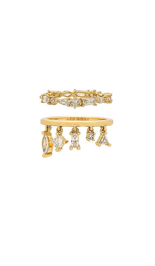 Luv AJ The Scattered Gem Ring Set in Metallic Gold