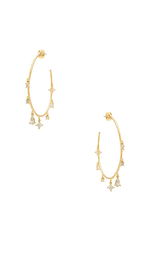 Luv AJ The Scattered Gem Statement Hoops in Metallic Gold