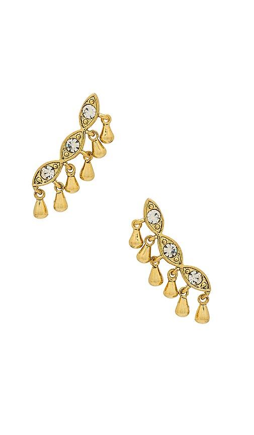 Luv AJ The Cosmic Teardrop Crawler Earrings in Metallic Gold