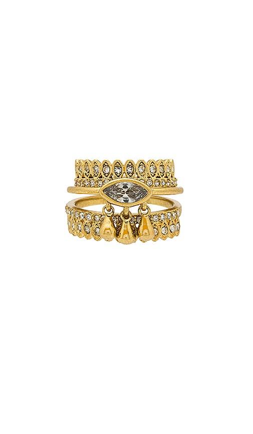 Luv AJ The Cosmic Teardrop Ring Set in Metallic Gold