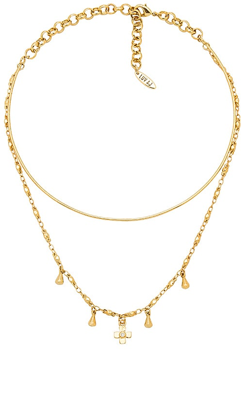 Luv AJ The Cosmic Cross Tie Necklace in Metallic Gold