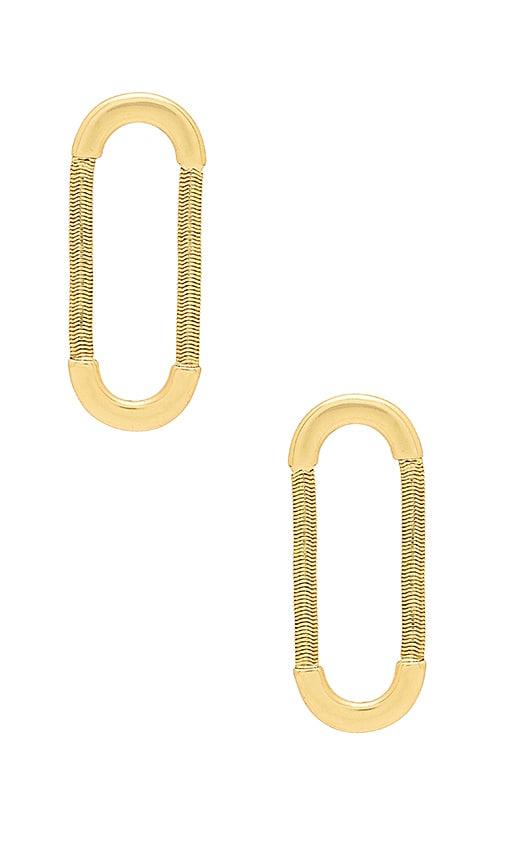 Luv AJ The Snake Chain Loop Studs in Metallic Gold