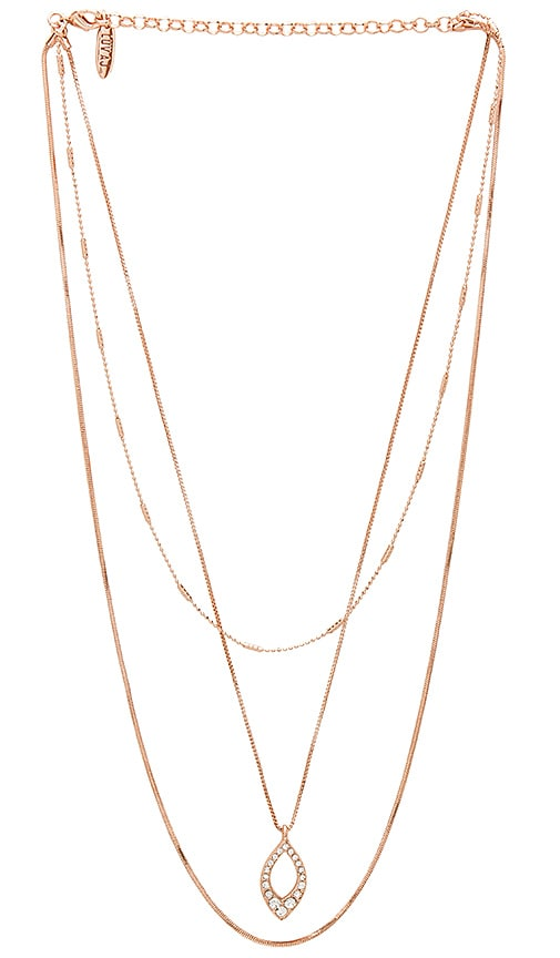 Luv AJ The Pave Marquise Charm Necklace in Metallic Copper