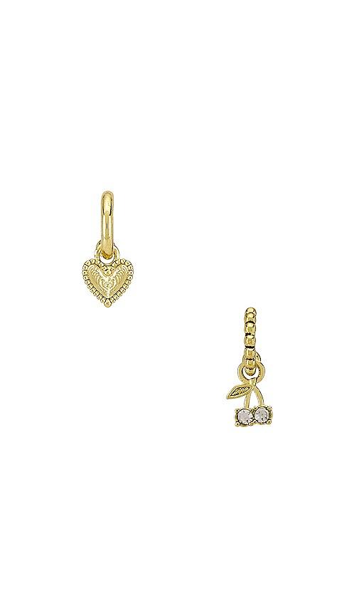 The Cherry & Heart Studded Huggie Earring Set