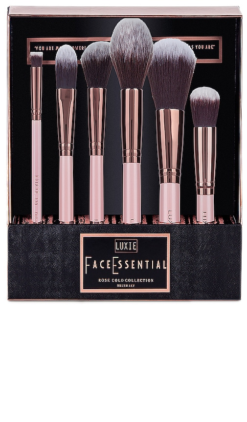 LUXIE Rose Gold Face Brush Set in Pink