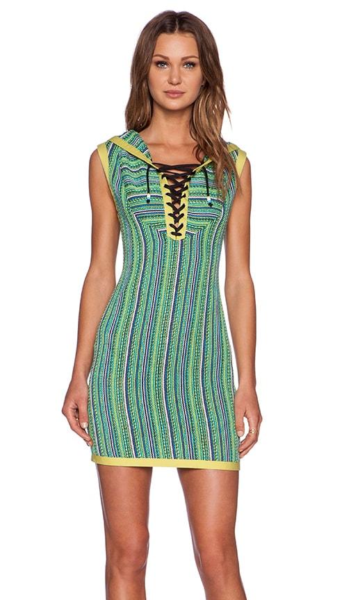 Love Moschino Baja Hoodie Dress in Blue & Green