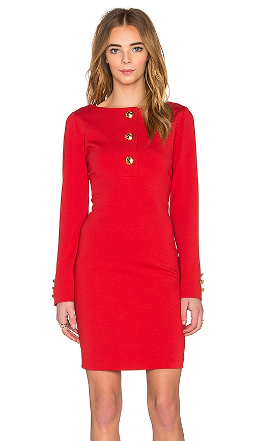 Love Moschino Long Sleeve Mini Dress in Red