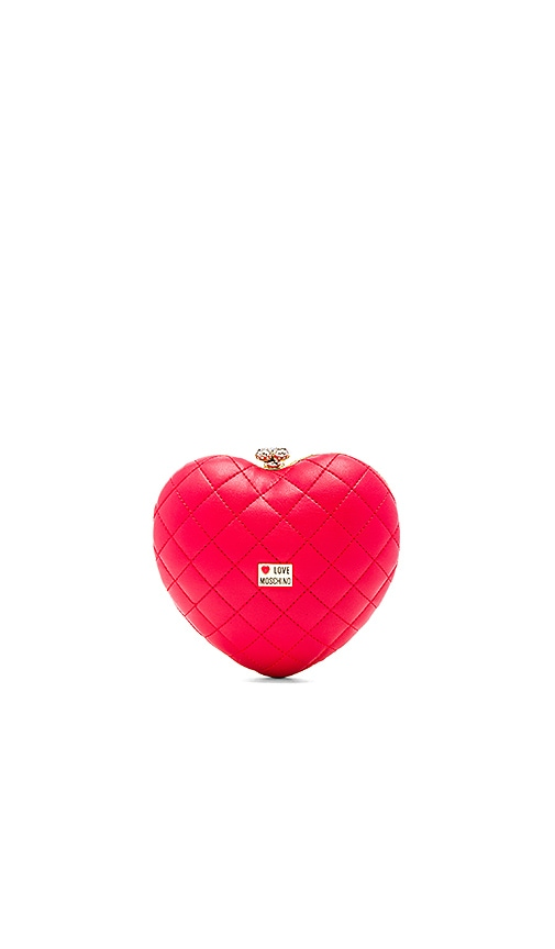Love Moschino Quilted Heart Box Clutch in Red