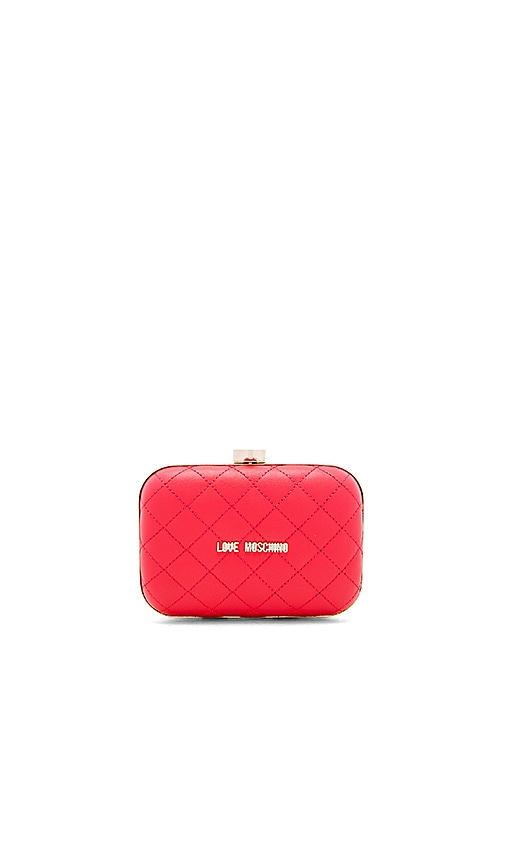 Love Moschino Quilted Box Clutch on a Chain in Red