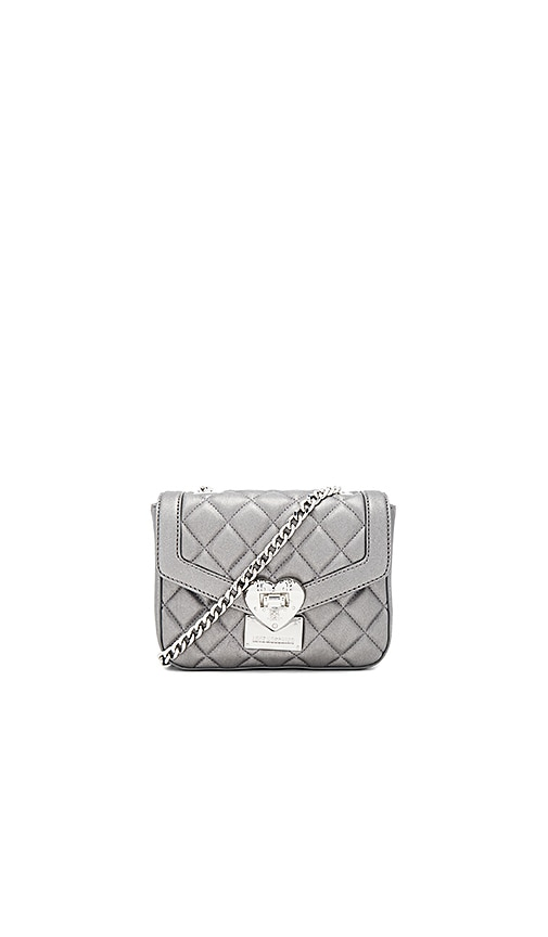 Love Moschino Quilted Crossbody Bag in Metallic Silver