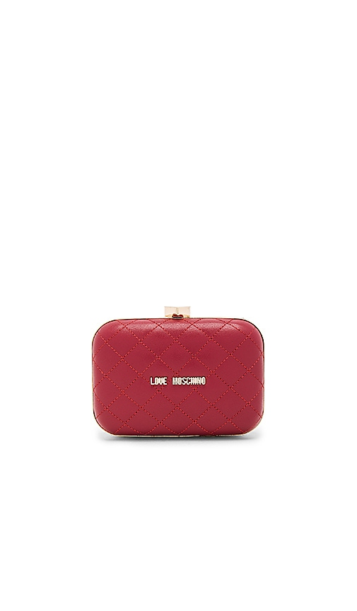 Love Moschino Quilted Box Clutch in Red