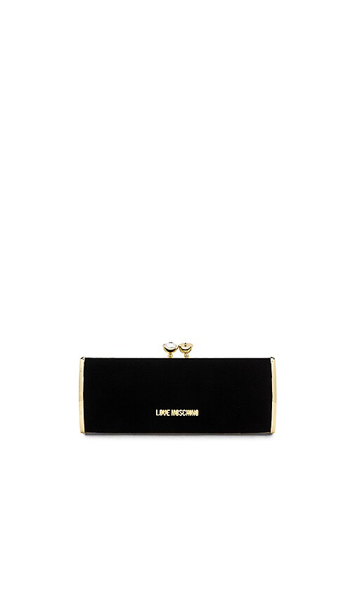 Love Moschino Velvet Clutch in Black