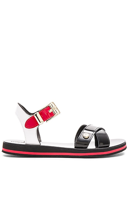Love Moschino Sandal in Black, Red & White
