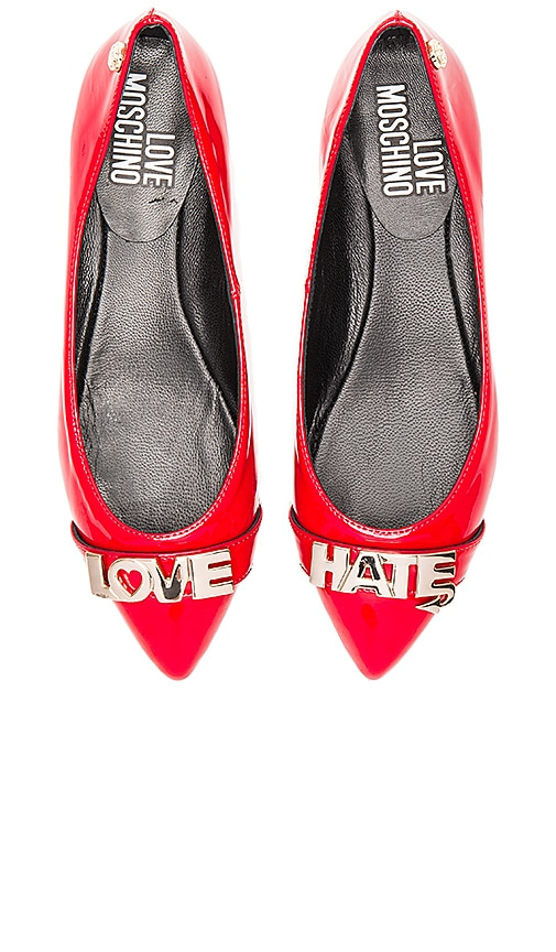 Love Moschino Love Hate Flat in Red