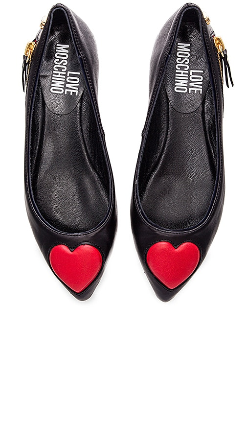 Love Moschino Heart Flat in Black