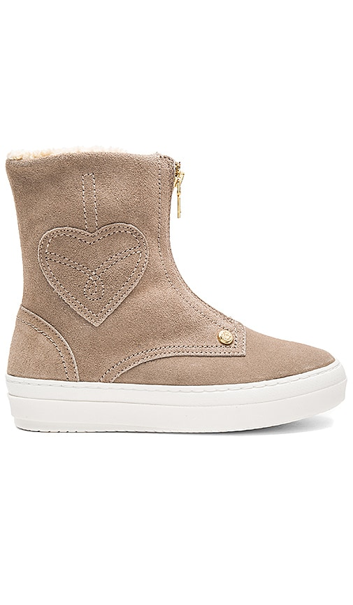 Love Moschino Ankle Boot with Sherpa Lining in Beige