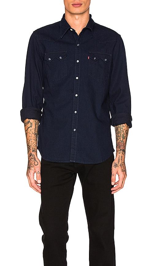 76cd81250af LEVI S Premium Sawtooth Western Shirt in Natural Indigo Rinse