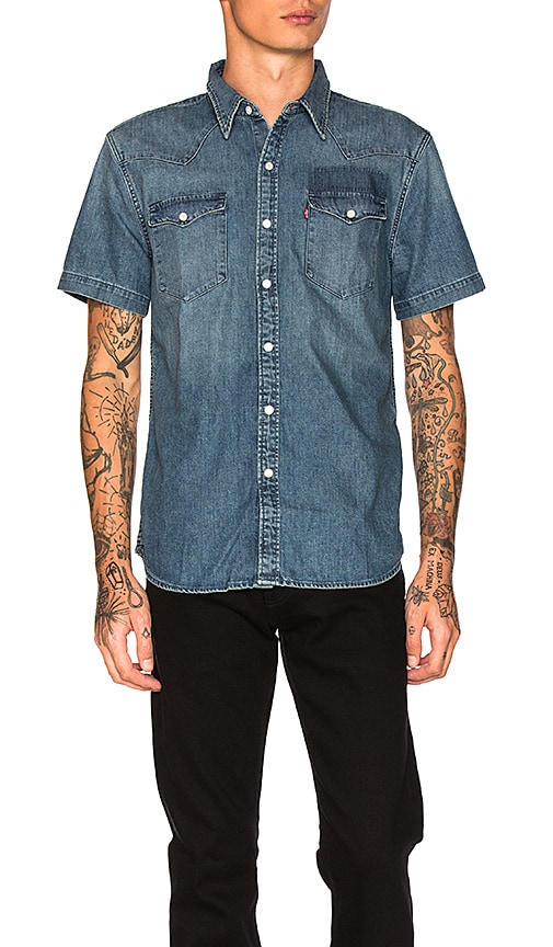 LEVI'S Premium Barstow Western Shirt in Gritty Patch Mid