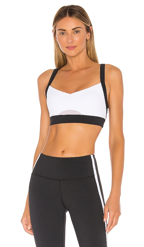 Polly Sport Bra In White Mono by Lilybod
