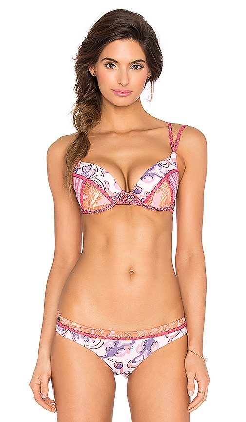 Maaji Amusing Muse Bikini Top in Pink & Orange Multi
