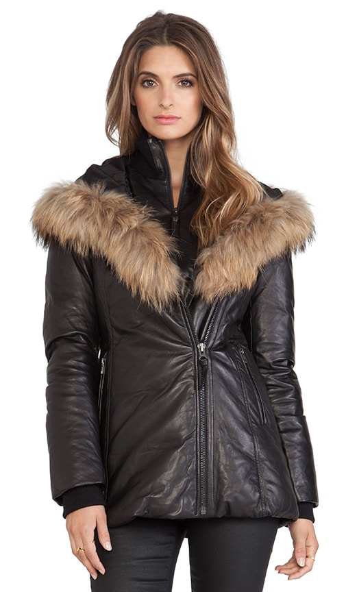 Mackage Ingrid Jacket with Natural Asiatic Raccoon Fur in Black