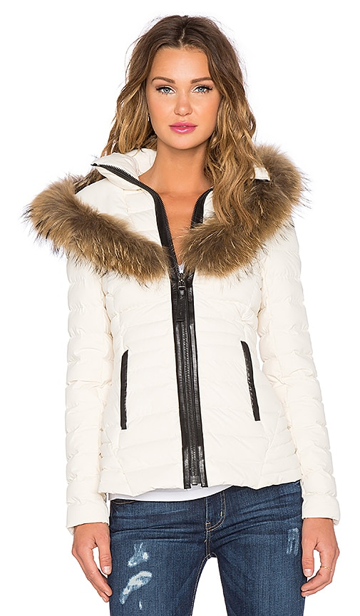 Mackage Adalina Jacket with Raccoon Fur Trim in White
