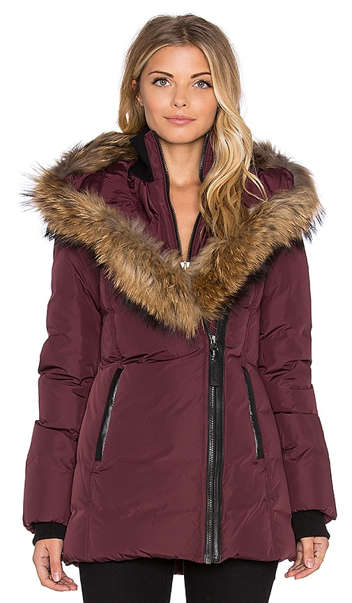 Mackage Adali Jacket with Asiatic Raccoon Fur in Bordeaux