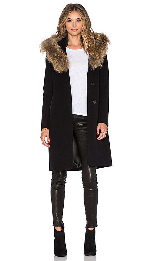 Mackage Andie Coat with Asiatic Raccoon Fur in Black