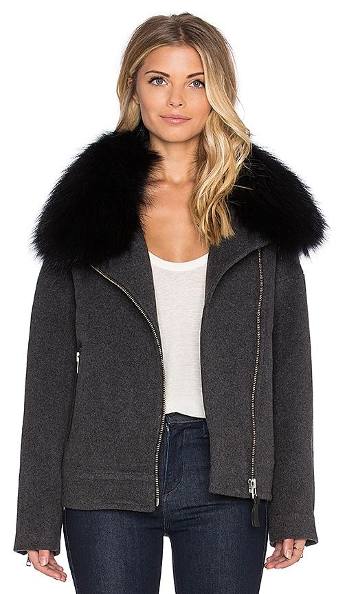 Mackage Felipa Jacket with Asiatic Raccoon Fur in Charcoal