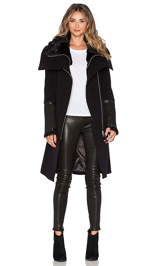 Mackage Isabel Coat with Sheepskin in Black