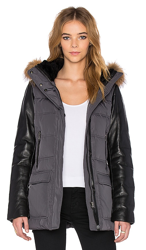 Mackage Orla Asiatic Raccoon Fur Jacket in Charcoal