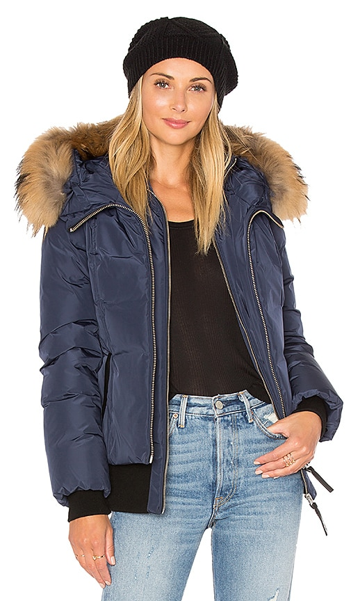 Mackage Romane Jacket with Asiatic Raccoon Fur Trim in Navy