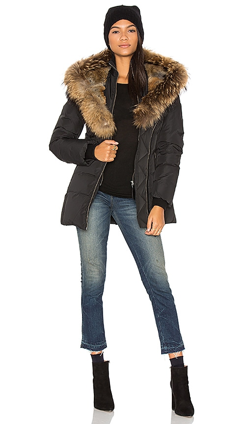 Mackage Akiva Asiatic Raccoon Fur and Rabbit Fur Coat in Black