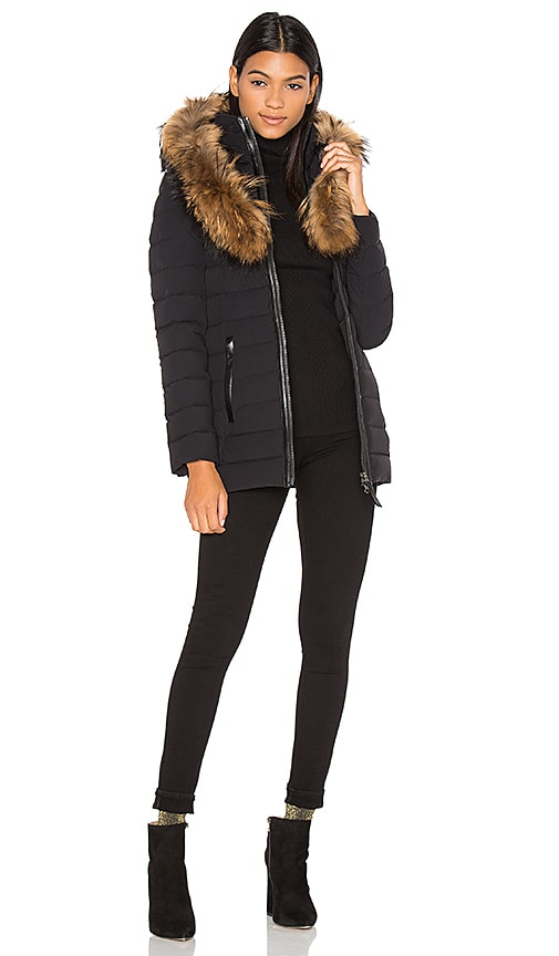 Mackage Kadalina Asiatic Raccoon Fur Coat in Black