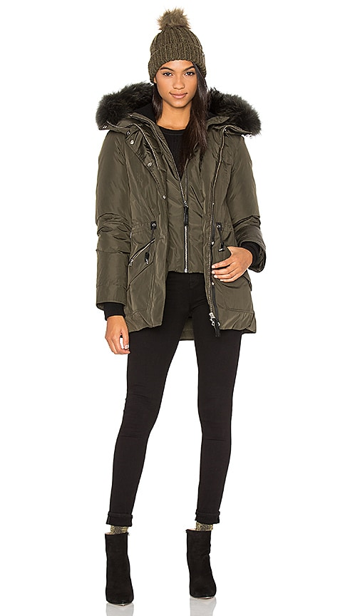 Mackage Katryn Asiatic Raccoon Fur Coat in Army