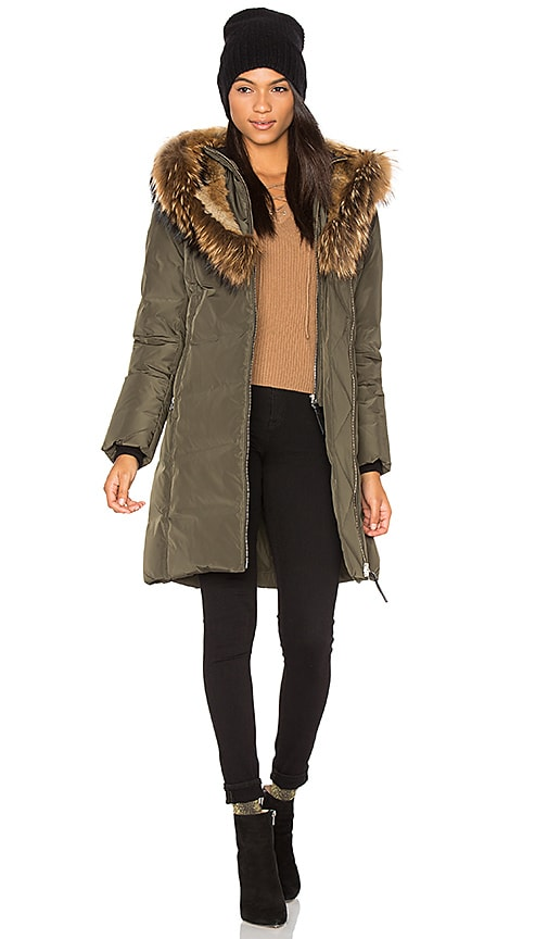 Mackage Trish Asiatic Raccoon Coat in Army