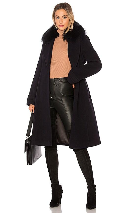 Mackage Nia Coat With Raccoon Fur in Blue