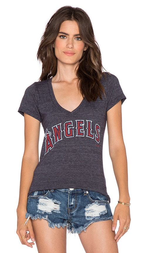 Majestic Threads Angels V Neck Tee in Navy