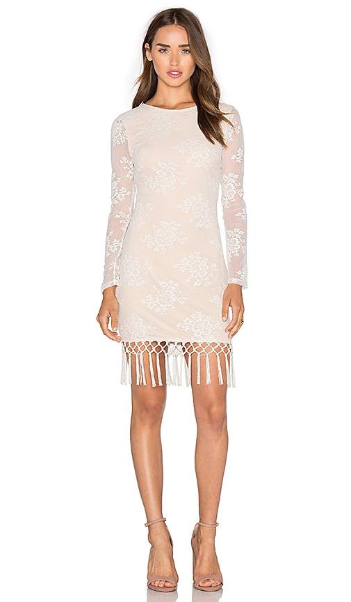 MAJORELLE Filaree Fringe Dress in Ivory