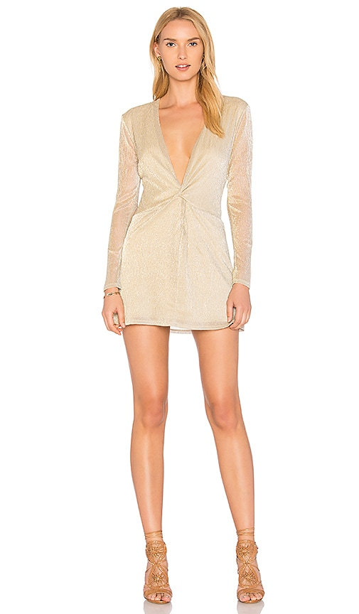 MAJORELLE Bossa Nova Dress in Metallic Gold