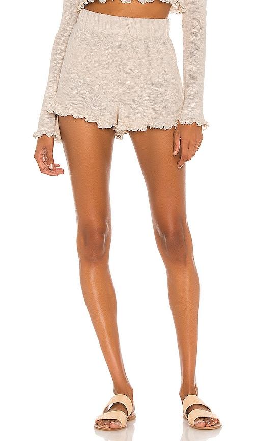 Majorelle Lettuce Edge Ruffle Shorts in Ivory