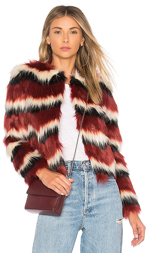 MAJORELLE Luka Faux Fur Coat in Red