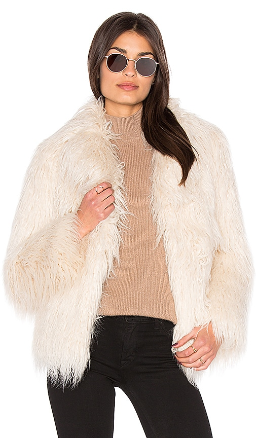 MAJORELLE Molly Faux Fur Coat in Ivory