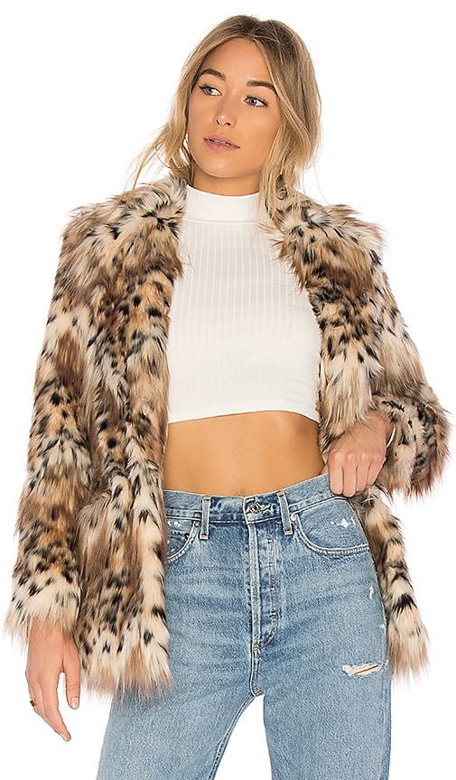 MAJORELLE Faux Fur Stella Coat in Brown