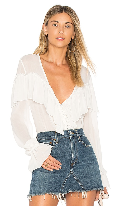 MAJORELLE Mariel Blouse in White