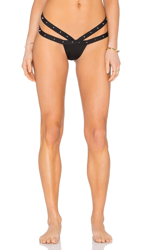MINIMALE ANIMALE Stud Outlaw Bikini Bottom in Black